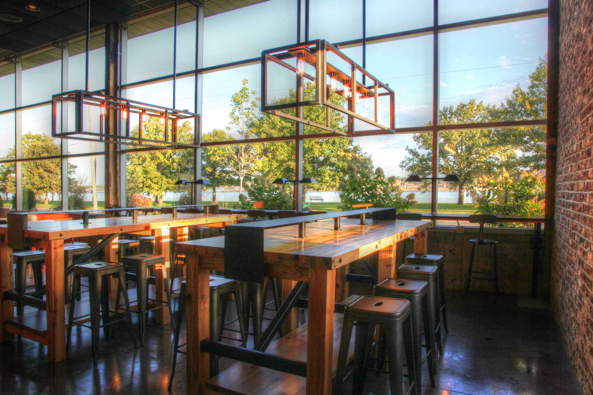 Feature of Milltown coffee inside view showcasing seating and lighting