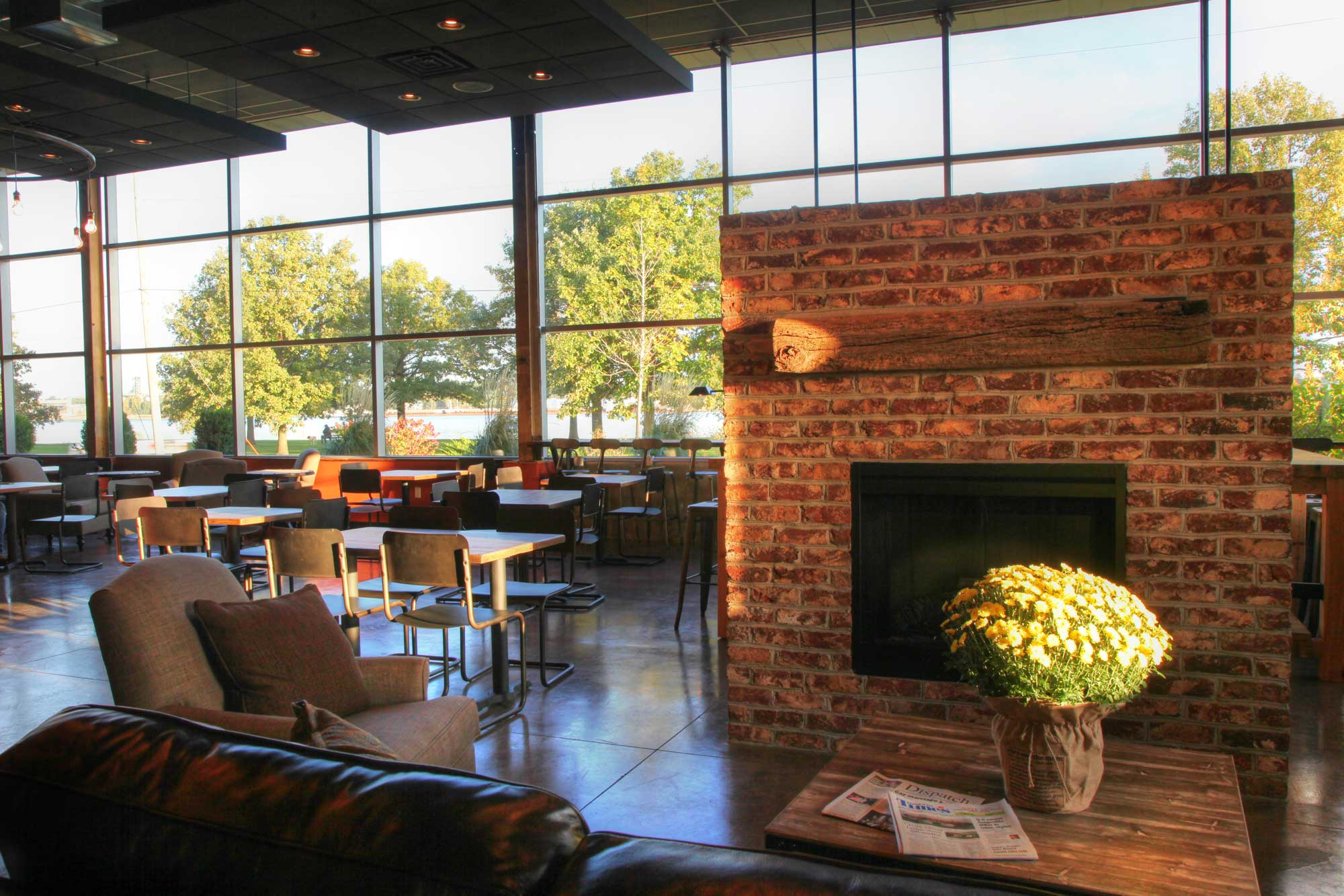 Feature of Milltown Coffee lounge area with fireplace