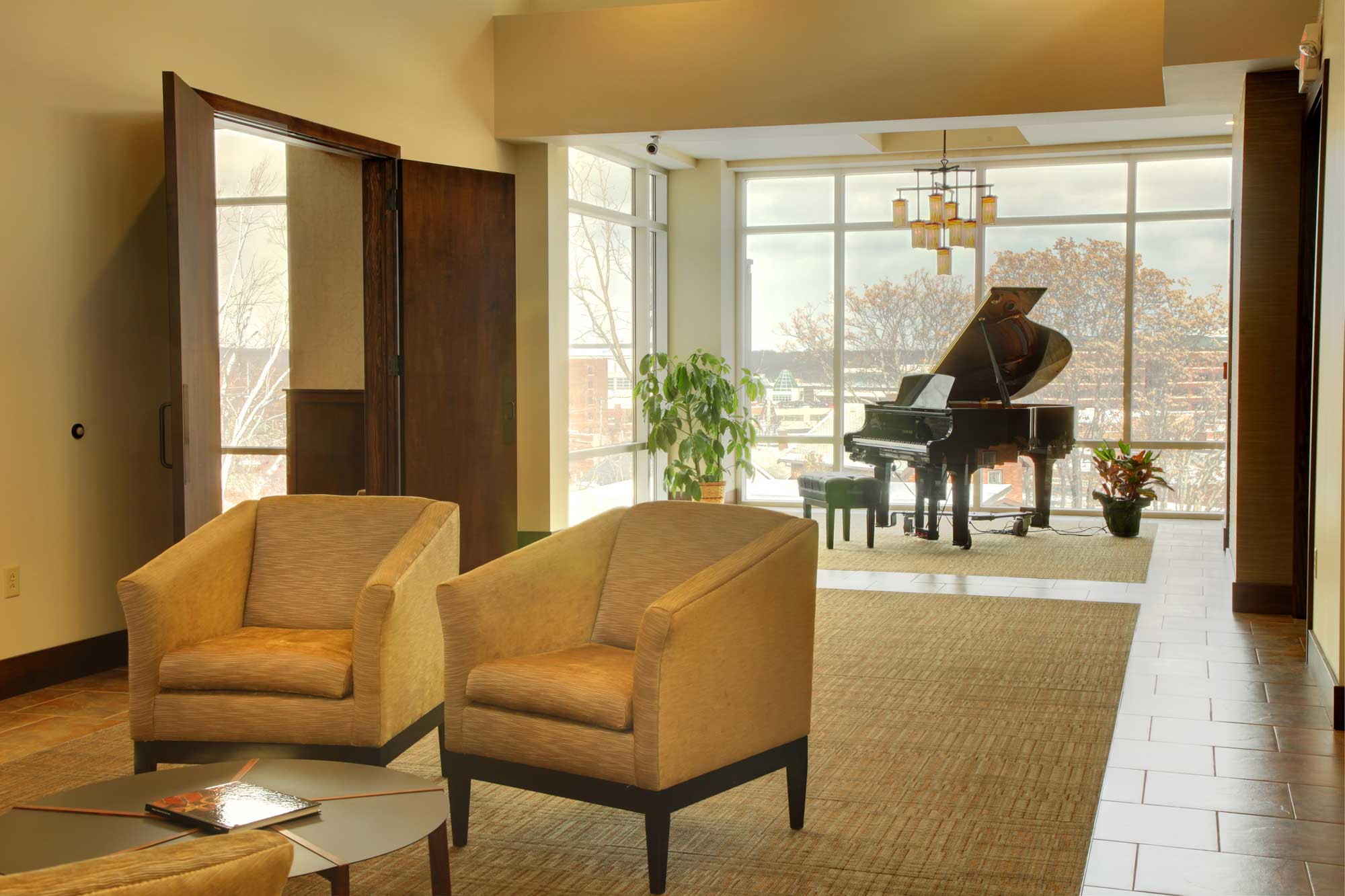 Feature of Trimble Point lobby area with grand piano