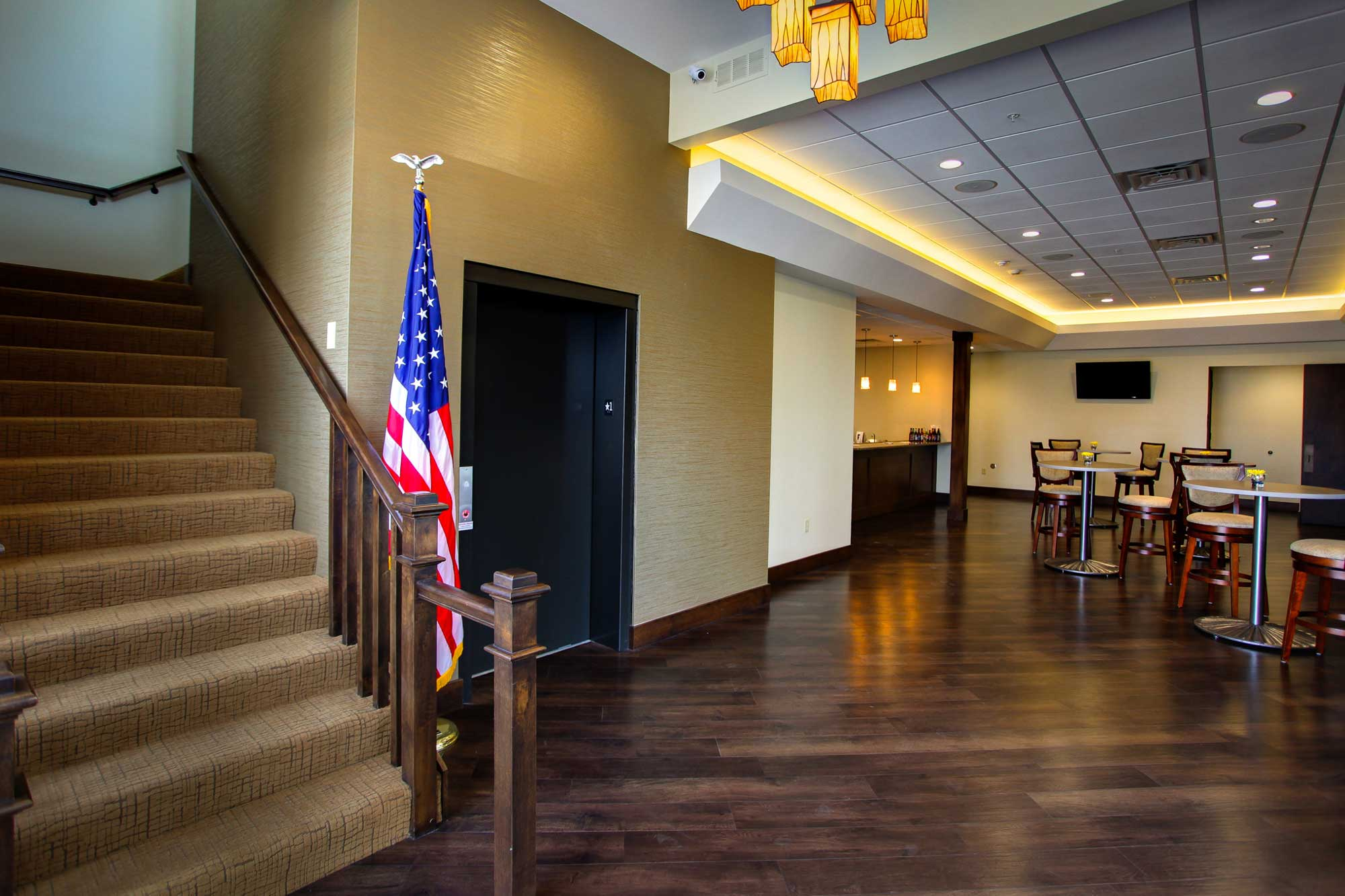 Feature of Trimble Point funeral home showing elevator and stairs in lobby