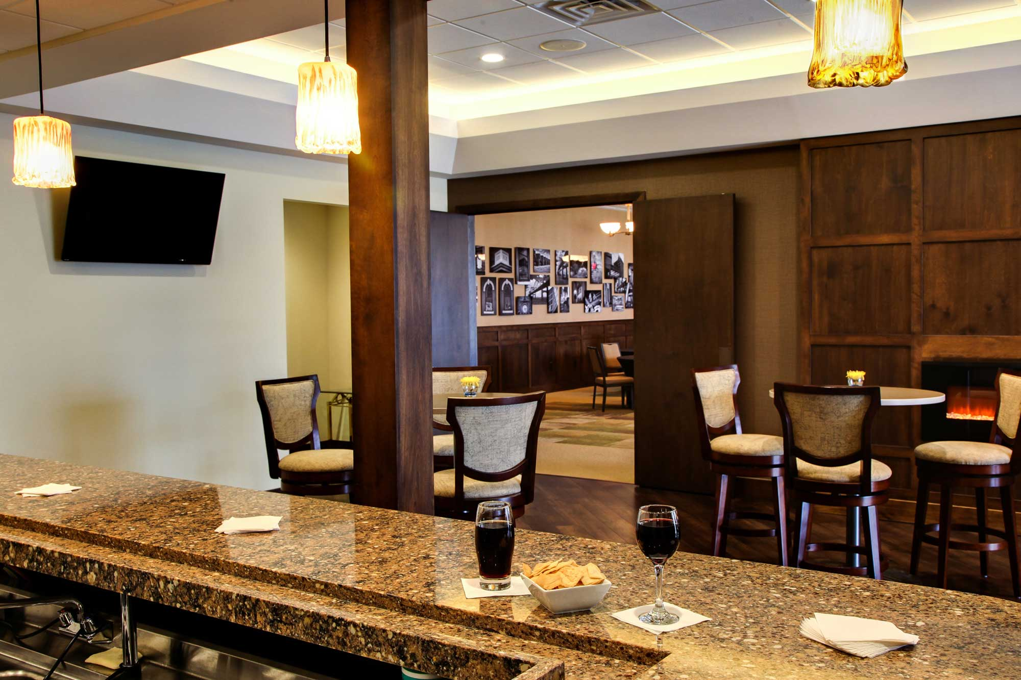 Feature of Trimble Point funeral home showing bar area by the main dining hall